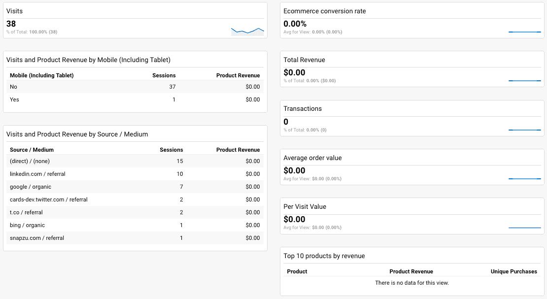 eCommerce Google Analytics dashboard;