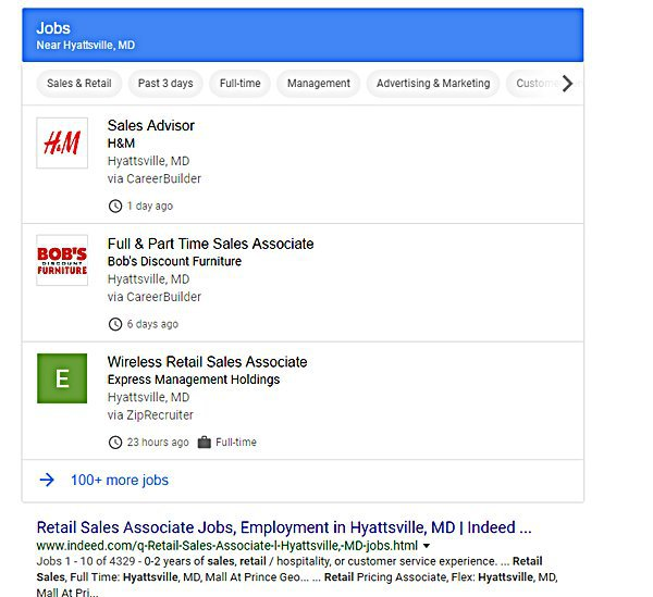 Google for Jobs results
