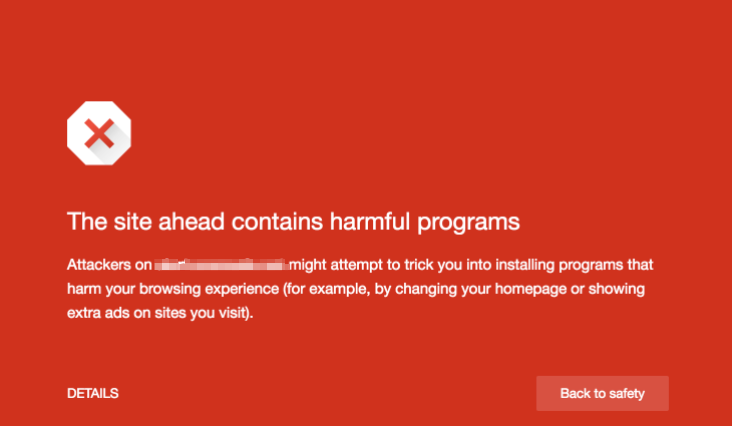 This site ahead contains harmful programs alert