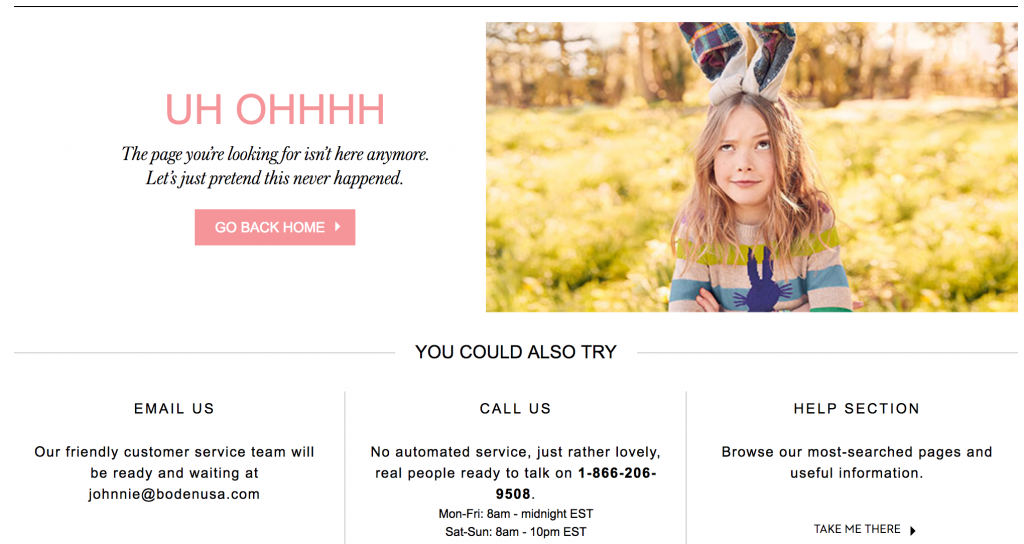 Boden 404 page