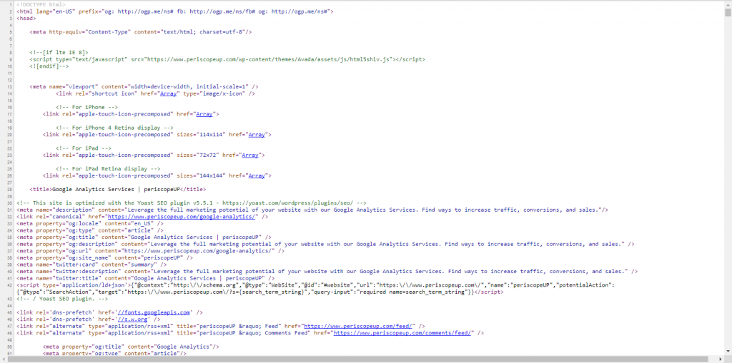 structured data html screenshot