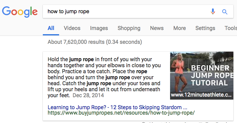 Example of a combined featured snippet, showing text from buyjumpropes and an image from 12minutealthete.