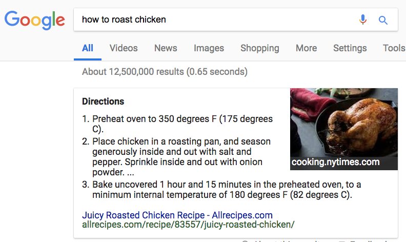 Example of a combined featured snippet, showing text from Allrecipes and an image from cooking.nytimes.