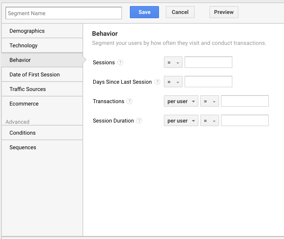 The Advance Segments feature in Google Analytics enables you to isolate specific types of traffic.