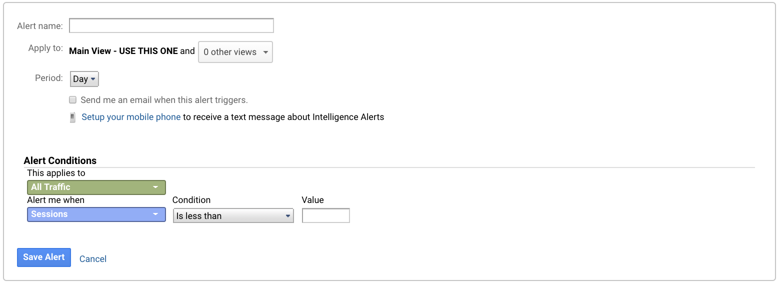 Google Analytics Custom Alerts will send you an email or text when certain conditions are met.