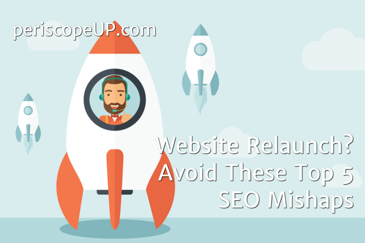 Vector image of man in rocket representing the concept of a website relaunch and the mistakes to avoid.