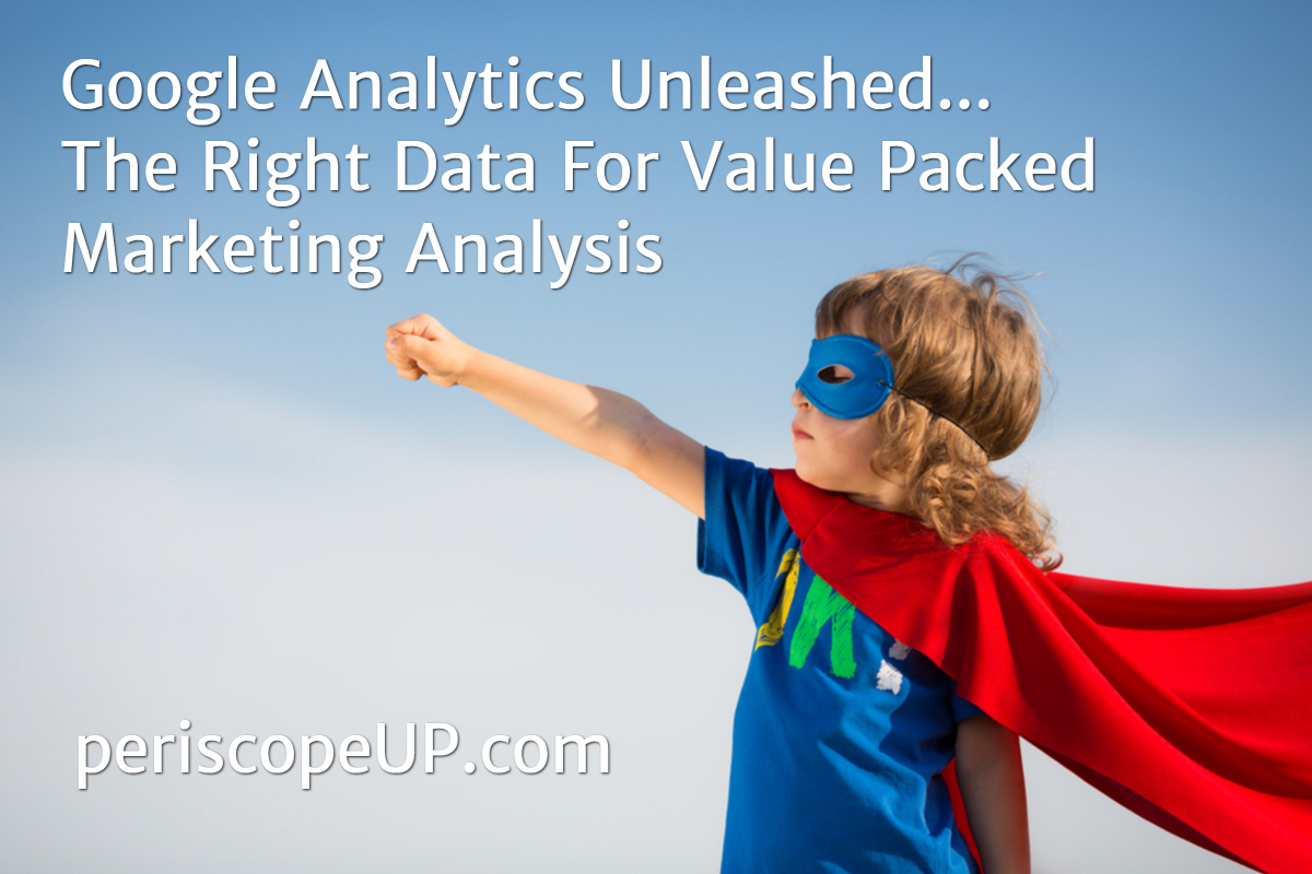 Child wearing a blue mask and red cape over a blue t-shirt with right hand outstretched as if taking off in flight, representing unleashing the power of Google Analytics.