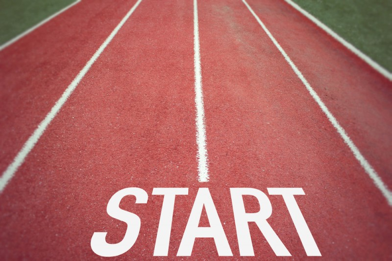Image of race starting line representing getting started with Google Analytics to improve business performance