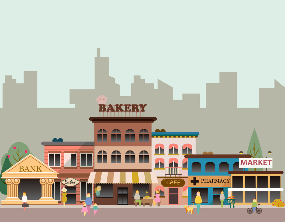 Image of small town businesses to illustrate the importance of local SEO to improve search rankings