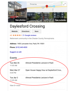 Google Business listing showing three events that were pulled from various event sites.