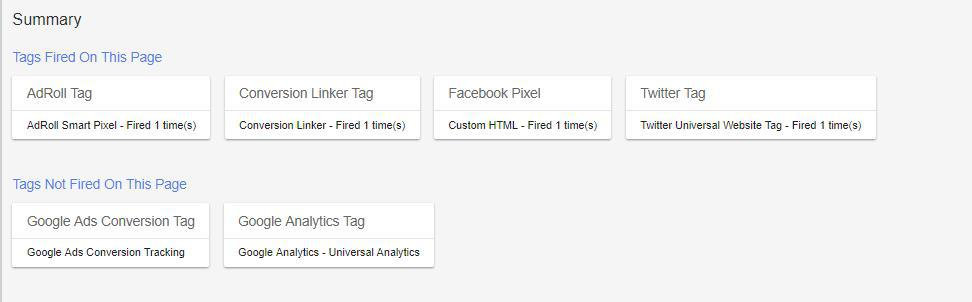 Image of Google Tag Manager to understand about tags fired vs. non-fired