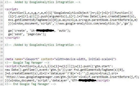 Image shows view source on desktop version of the pages to show how Google Tag Manager container and the Universal Analytics code both on the page