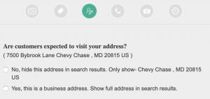 Bing Places dashboard showing service area question.