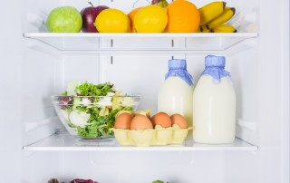 Open refrigerator with fresh milk, eggs and veggies. Understanding the lifespan on content on different platforms is helpful for keeping your content fresh.
