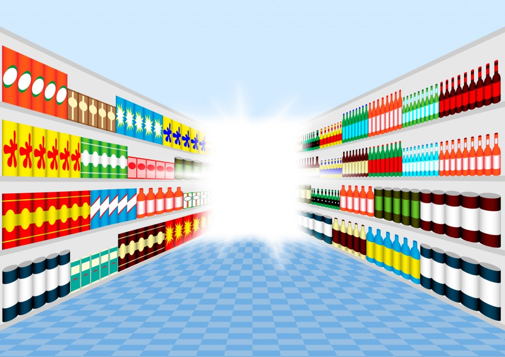 Illustration of products on the shelves of a store aisle. Google Business is beta testing a Products feature.