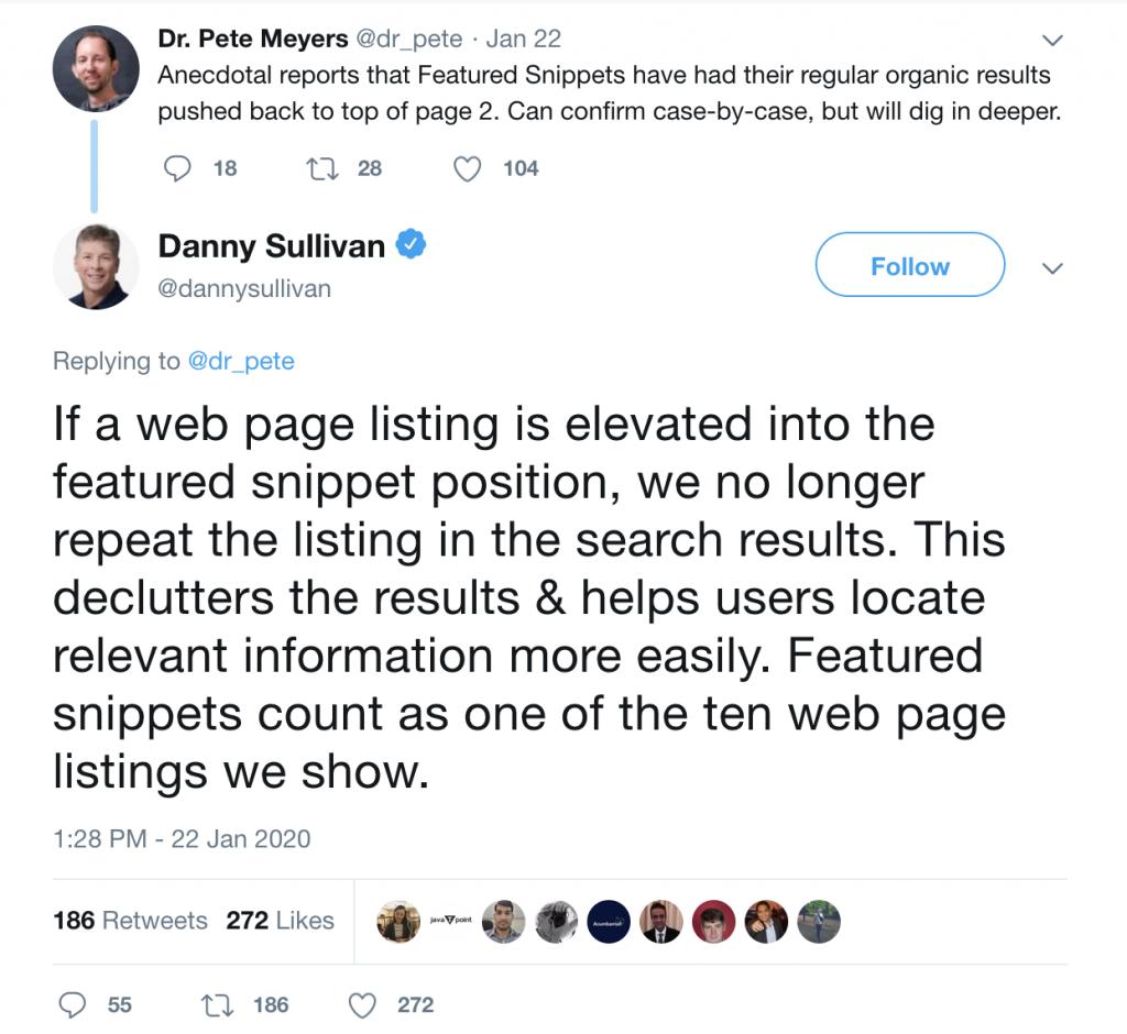 Twitter exchange between Moz's Peter Meyers and Google's Danny Sullivan.