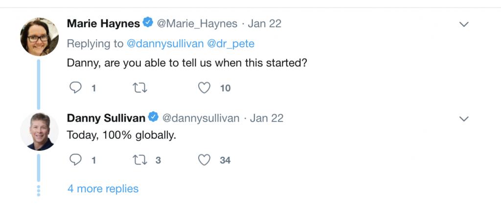 Twitter exchange between SEO Marie Haynes and Google's Danny Sullivan.