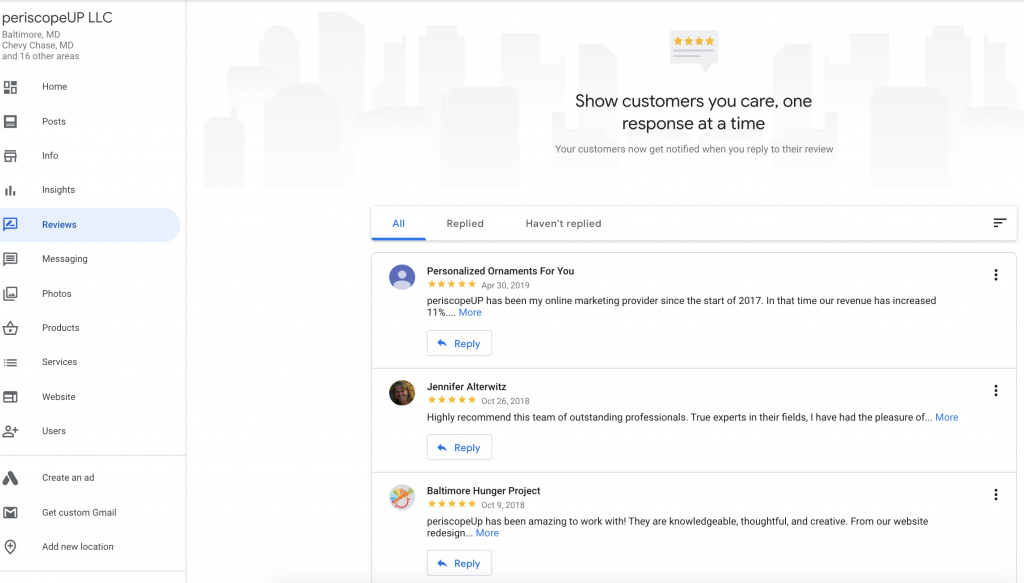 Customer reviews in periscopeUP's Google Business dashboard.