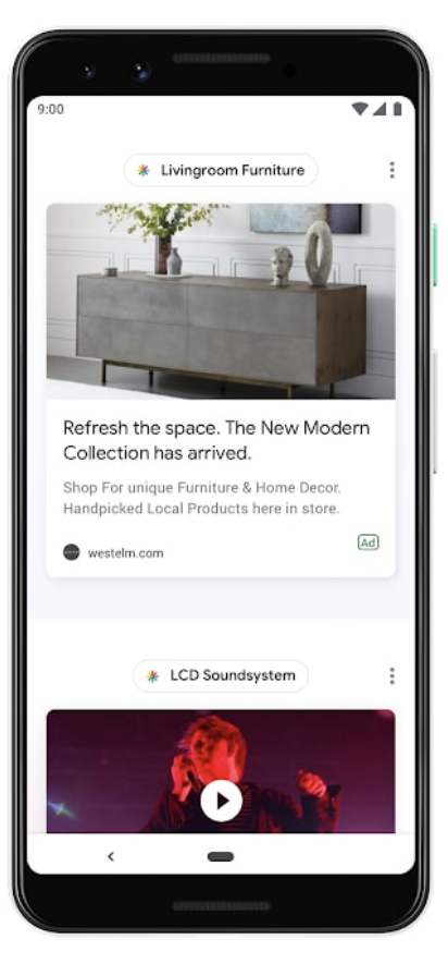 Example of a Google Discover feed with an ad.