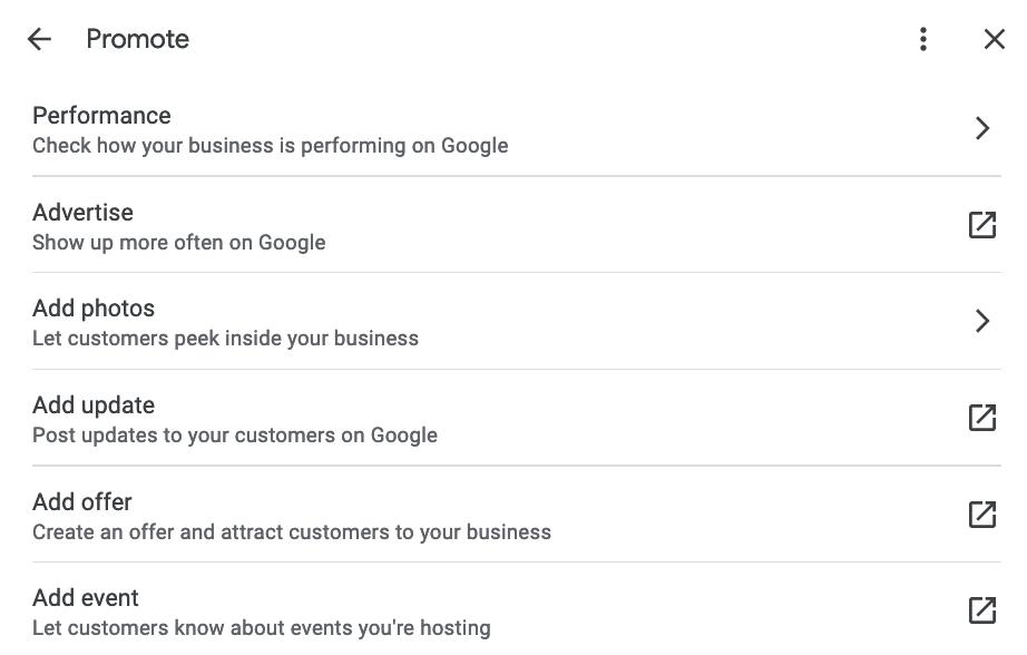 Performance direct edit menu for Google My Business.