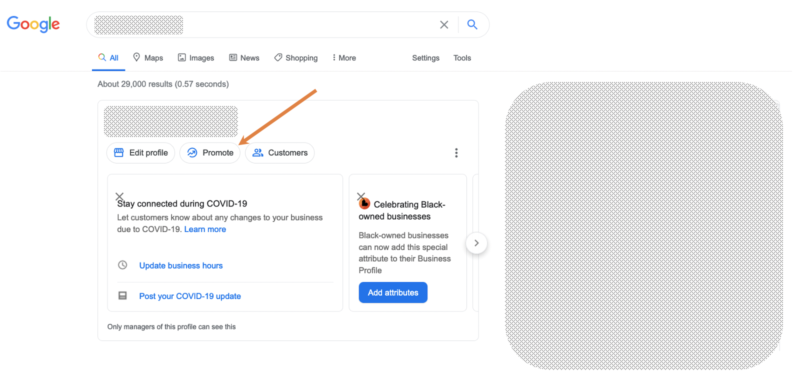 Direct edit menu for a Google Business listing.