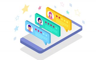 Illustration of Google star ratings and customer reviews on a mobile phone. Customer review content can influence local SEO.