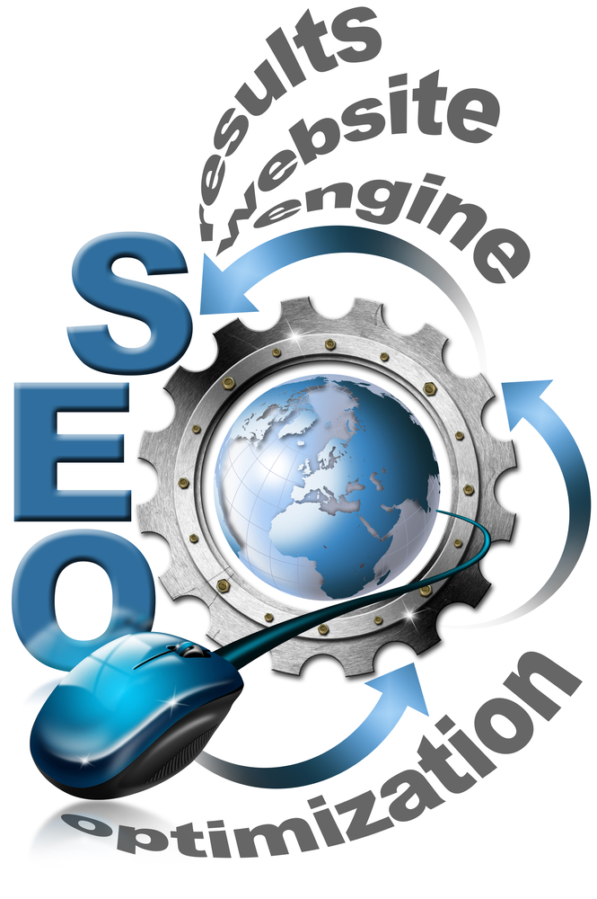 Illustration with metal written SEO, metal gear, mouse and blue globe to represent Automated Blog Content Generators