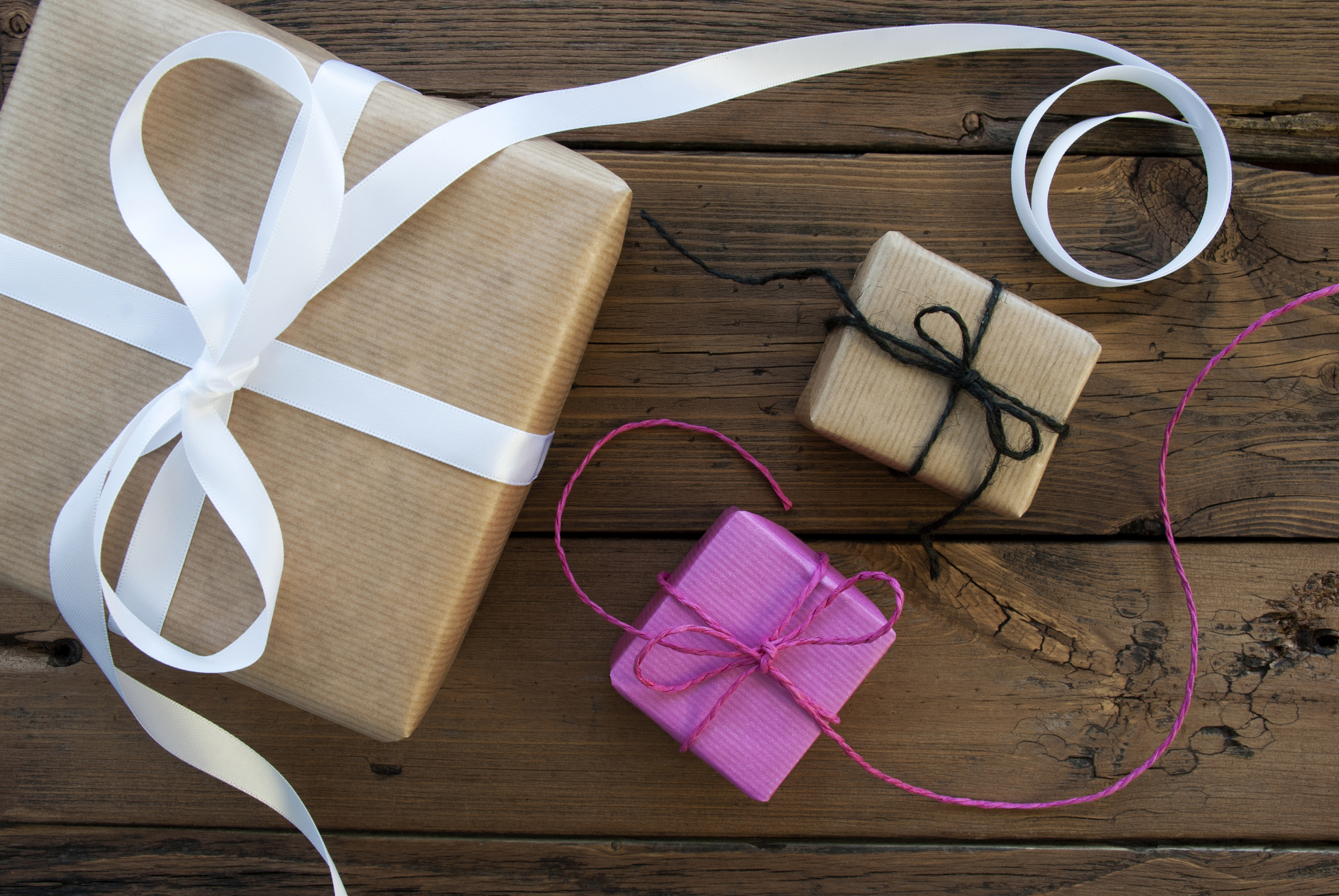 Gifts from an E-tailer, tied with ribbon for the holidays.