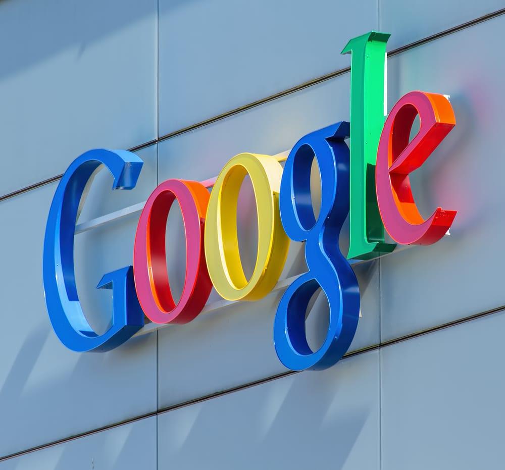Google sign on side of building.