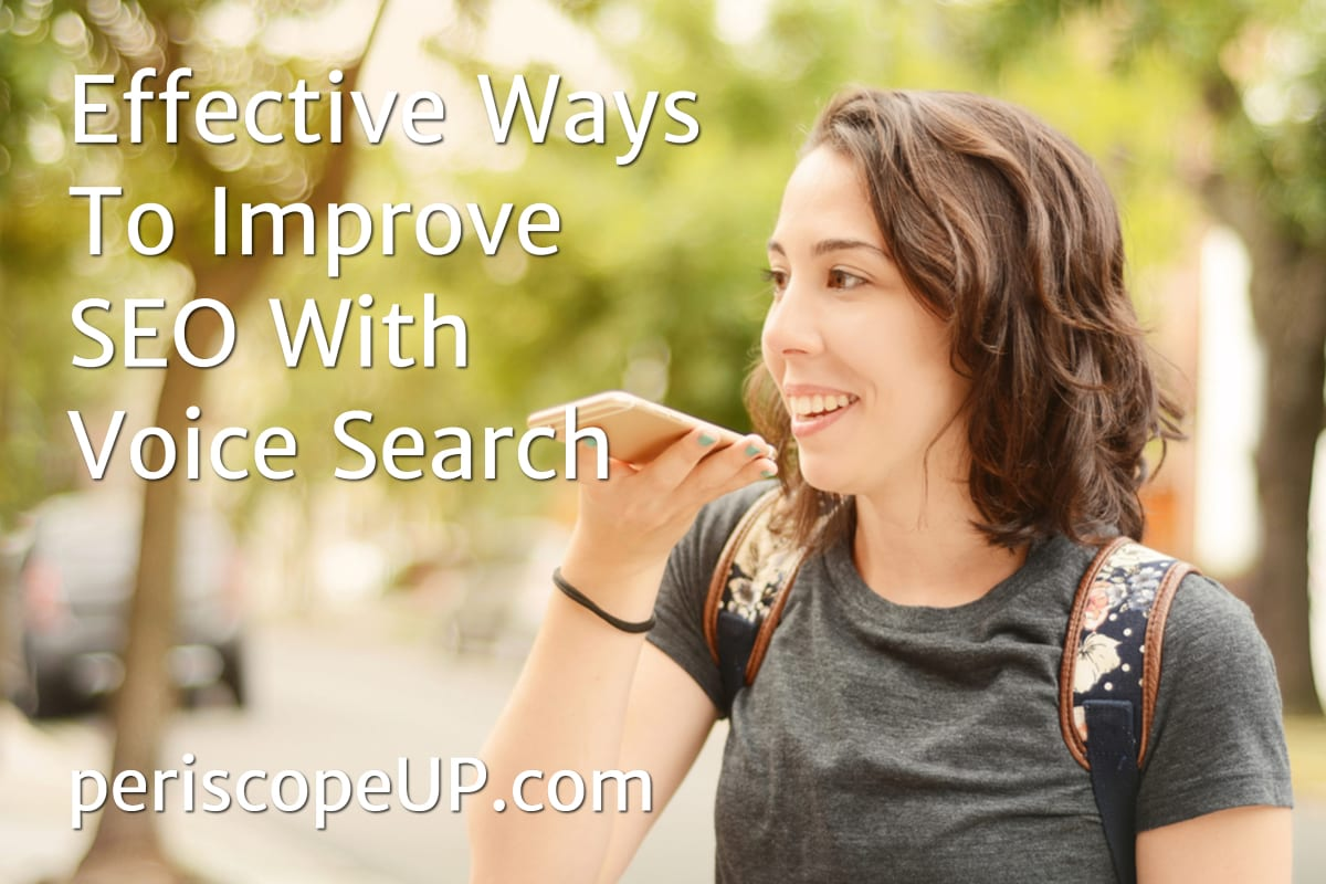 Image of woman doing a voice search to illustrate the importance of voice search SEO strategy.