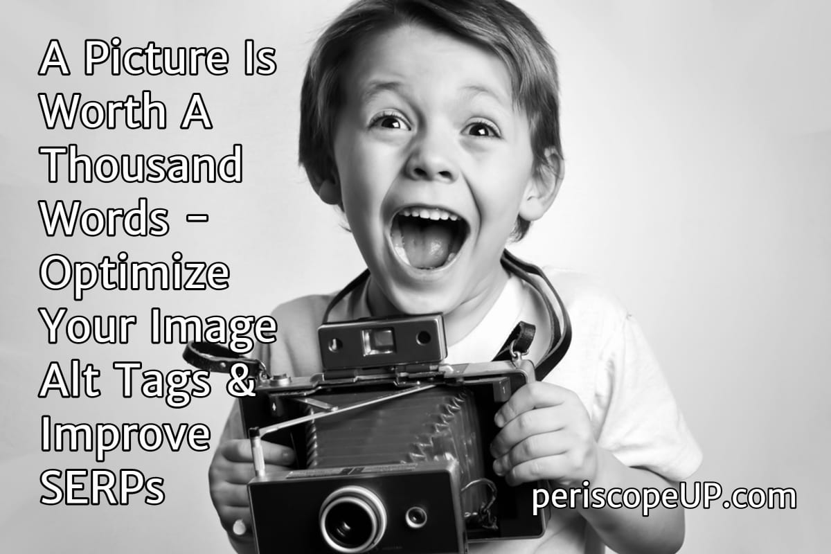 Exuberant boy with instant camera, representing gains from optimizing images.