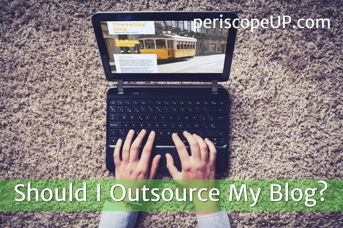 Person typing on laptop to represent a person creating an outsourced blog post