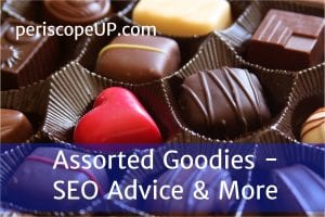 Box of chocolates representing the assortment of good SEO advice found in this article