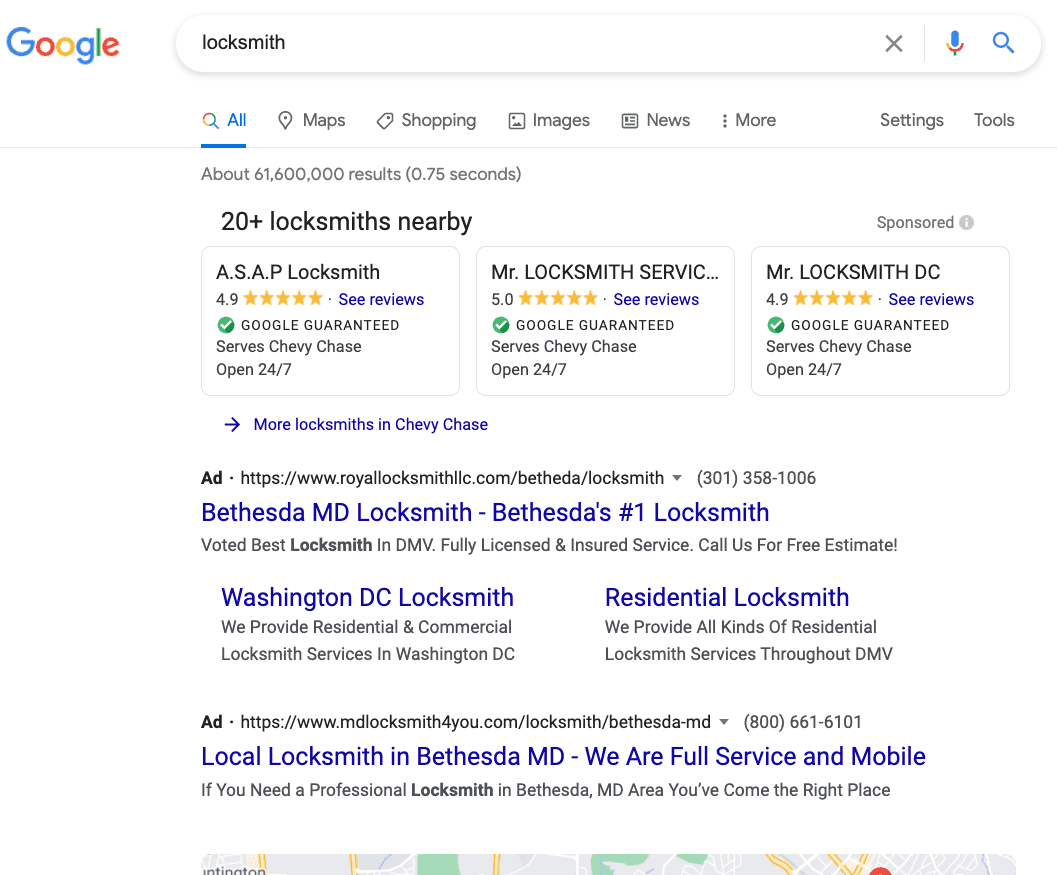 """Search query for """"locksmith"""" with a local ad carousel provided by Google."""