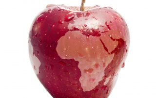 World map superimposed on an apple, representing Apple's Places on Maps.