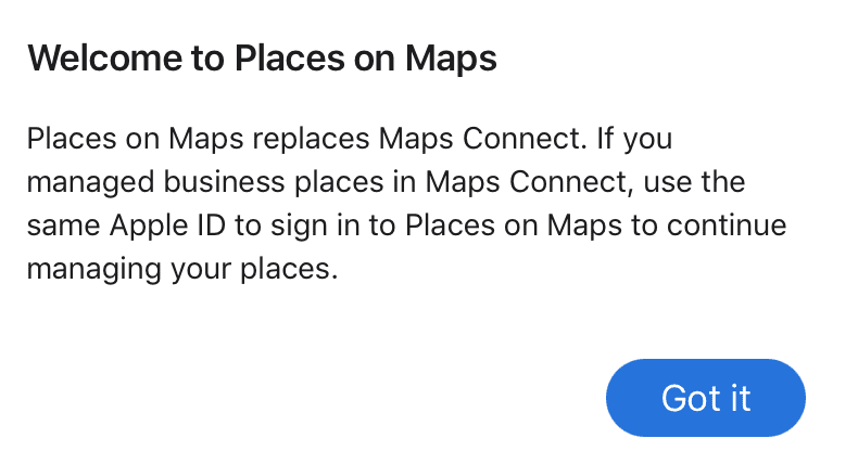 Apple Maps Connect has been renames Places on Maps.