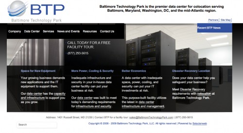 Baltimore Technology Park website landing page following implementation of periscopeUP's suggested changes.