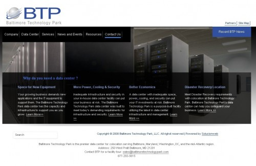 Baltimore Technology Park website Landing Page before changes.